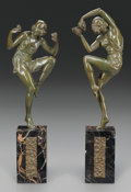 Sculpture, PIERRE LAUREL PAIR OF ART DECO BRONZE DANCERS ON MARBLE PEDESTAL BASES. 13-1/2 inches (34.3 cm) high on a 6 inch (15.2 cm) b... (Total: 2 Items)