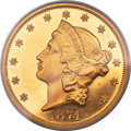 Proof Liberty Double Eagles, 1874 $20 PR62 Deep Cameo PCGS....
