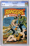 Golden Age (1938-1955):War, Rangers Comics #19 (Fiction House, 1944) CGC VF 8.0 Off-white towhite pages....