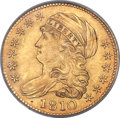 Early Half Eagles, 1810 $5 Large Date, Large 5, BD-4, R.2, MS63 PCGS....