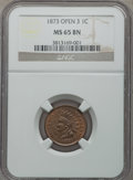 Indian Cents: , 1873 1C Open 3 MS65 Brown NGC. NGC Census: (10/2). PCGS Population (7/1). Mintage: 11,676,500. Numismedia Wsl. Price for pr...