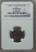 Early Dimes, 1798/97 10C 16 Stars Reverse, JR-1, R.3, -- Plugged -- NGC Details.VF. Mintage: ...
