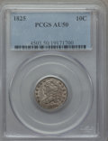 Bust Dimes: , 1825 10C AU50 PCGS. PCGS Population (4/72). NGC Census: (3/68).Mintage: 410,000. Numismedia Wsl. Price for problem free NG...