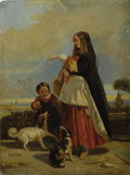 Fine Art - Painting, European:Antique  (Pre 1900), ITALIAN SCHOOL (Nineteenth Century) . Feeding the Dogs. Oilon canvas. 13 x 10 inches (33.0 x 25.4 cm). Unsigned. ...