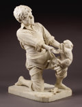Sculpture, Young Boy Holding Bad Kitty. . Pietro Barzanti, Italian (1847-1917). 19th century. Marble. 27-1/2 inches high, 13-1/2 in...