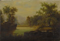 Fine Art - Painting, European:Antique  (Pre 1900), CONTINENTAL SCHOOL (Nineteenth Century) . Landscape withStag. Oil on canvas. 10 x 14-1/4 inches (25.4 x 36.2 cm).Signe...