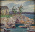 Fine Art - Painting, American:Modern  (1900 1949)  , TWENTIETH CENTURY SCHOOL. House Over Looking the Sea. Oil onboard. 4-1/2 x 4-1/2 inches (11.4 x 11.4 cm). Unsigned. ...