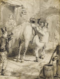 Fine Art - Painting, European:Antique  (Pre 1900), Attributed to JOHN LEECH (British 1817-1864). Outside the Tavern, 19th century. Pen and ink on paper. 6-1/2 x 5 inches (...