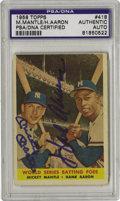 Autographs:Sports Cards, 1958 Topps Mickey Mantle/Hank Aaron #418 Card, Signed. Two booming blue sharpie signatures mask upon this card that signifi...