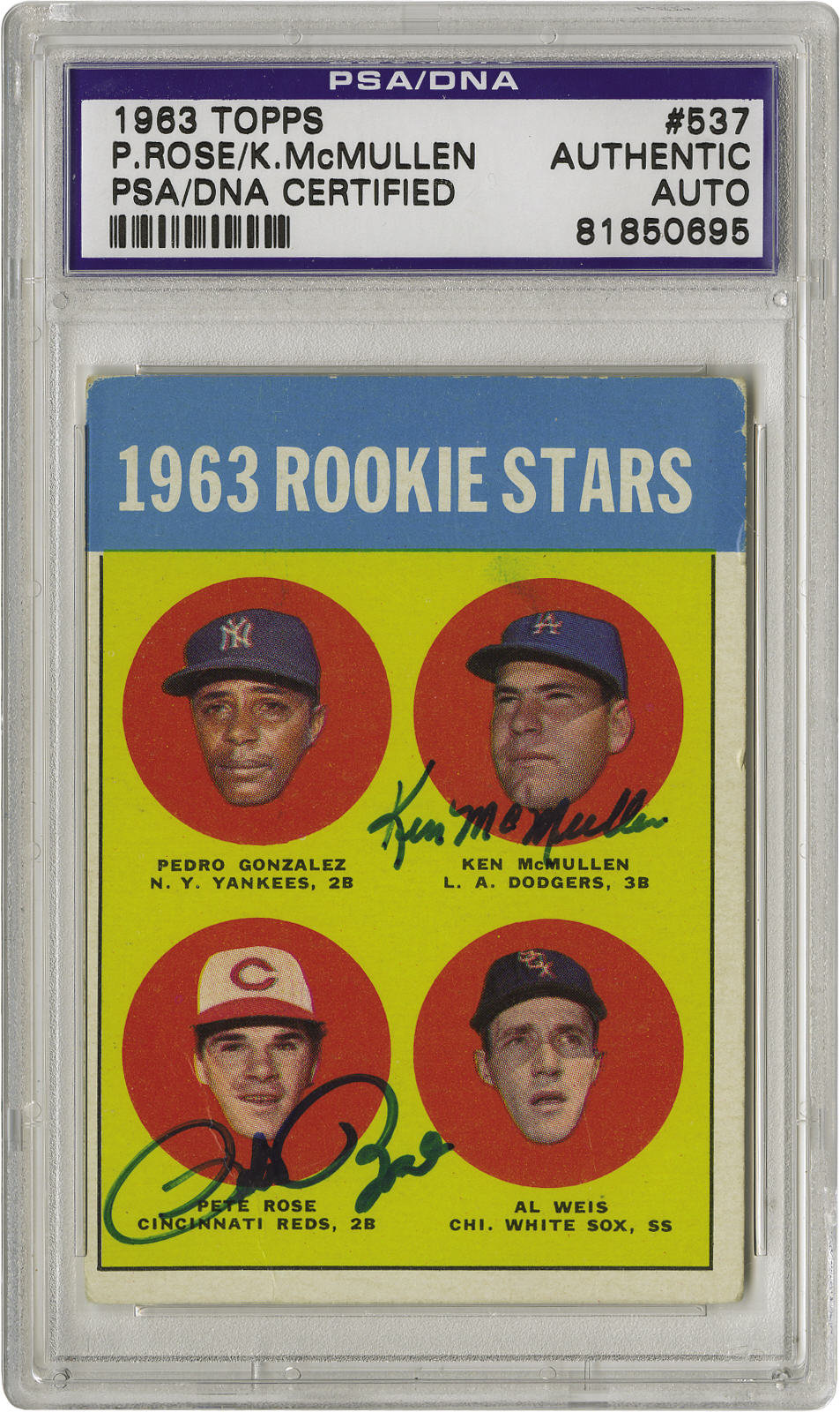 1963 Topps Pete Rose Rookie 537 Card Signed Once The