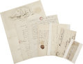 Autographs:Statesmen, Group Lot of Seven Autographs, most notably a great politicalcontent ALS by N. Seasley, 3 pages, Feb. 2, 1806, regardin...(Total: 7 Items)