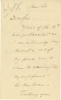 "Autographs:Statesmen, Wendell Phillips Autograph Letter Signed, 2 pages, 4.5"", 7.25"",June 1864, to a ""S Wolf Esq"". A brief letter declining a..."