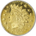 California Fractional Gold, 1875 25C Indian Round 25 Cents, BG-878, R.3, MS66 Deep MirrorProoflike NGC....