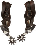 Western Expansion:Cowboy, Pair of Silver Overlaid No. 400 Spurs by J.O. Bass Tulia, Texas....
