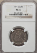 Seated Quarters: , 1875-CC 25C VF25 NGC. NGC Census: (4/41). PCGS Population (8/73). Mintage: 140,000. Numismedia Wsl. Price for problem free ...