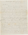 Autographs:Military Figures, [Baltimore Riot of 1861]. Union Captain Timothy A. Crowley Autograph Letter Signed....