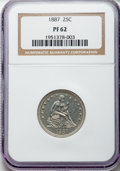 Proof Seated Quarters: , 1887 25C PR62 NGC. NGC Census: (16/189). PCGS Population (39/175). Mintage: 710. Numismedia Wsl. Price for problem free NGC...