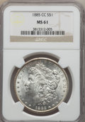 Morgan Dollars: , 1885-CC $1 MS61 NGC. NGC Census: (184/9585). PCGS Population (268/19171). Mintage: 228,000. Numismedia Wsl. Price for probl...