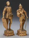 Decorative Arts, Continental, TWO CONTINENTAL GILT METAL, BONE AND GLASS ARMORED KNIGHTS, 20thcentury. 11-1/2 inches high (29.2 cm) (taller). PROPERTY ...(Total: 2 Items)
