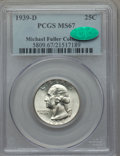 Washington Quarters: , 1939-D 25C MS67 PCGS. CAC. Ex: Michael Fuller Collection. PCGSPopulation (67/0). NGC Census: (85/0). Mintage: 7,092,000. N...