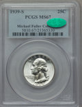Washington Quarters: , 1939-S 25C MS67 PCGS. CAC. Ex: Michael Fuller Collection. PCGSPopulation (69/0). NGC Census: (38/0). Mintage: 2,628,000. N...
