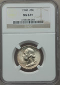 Washington Quarters: , 1940 25C MS67+ NGC. NGC Census: (170/0). PCGS Population (114/2).Mintage: 35,715,248. Numismedia Wsl. Price for problem fr...