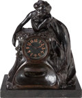 Clocks & Mechanical:Clocks, A DRESSLER ART NOUVEAU BRONZE AND ONYX MANTLE CLOCK, circa 1910. Marks: DRESSLER. 16-1/4 x 13-5/8 x 10 inches (41.3 x 34...
