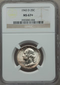 Washington Quarters: , 1943-D 25C MS67+ NGC. NGC Census: (145/2). PCGS Population (54/1).Mintage: 16,095,600. Numismedia Wsl. Price for problem f...