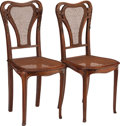 Furniture , PAIR OF FRENCH ART NOUVEAU WALNUT SIDE CHAIRS WITH CANING, circa 1900. 36-1/8 inches high (91.8 cm). PROPERTY FROM THE RIC... (Total: 2 Items)