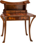 Furniture , LOUIS MAJORELLE MAHOGANY AND MARQUETRY WRITING DESK, Nancy, France, circa 1900. 44 x 38 x 27-1/2 inches (111.8 x 96.5 x 69.9...
