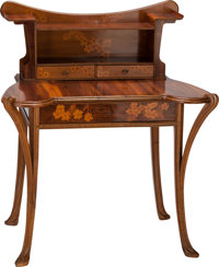 LOUIS MAJORELLE MAHOGANY AND MARQUETRY WRITING DESK, Nancy, France, circa 1900 44 x 38 x 27-1/2 inches (111.8 x 96