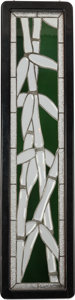 Art Glass, ART DECO LEADED GLASS BAMBOO PANEL, circa 1925. 49-1/2 x 12 inches(125.7 x 30.5 cm). PROPERTY FROM THE RICHARD AND MERLE ...