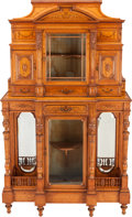 Furniture , AN VICTORIAN SATINWOOD MARQUETRY CABINET, circa 1880. 68-1/2 x 40-1/2 x 16 inches (174.0 x 102.9 x 40.6 cm). PROPERTY FROM... (Total: 2 Items)