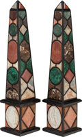 Decorative Arts, Continental, A PAIR OF ITALIAN GRAND TOUR SPECIMEN MARBLE OBELISKS, 20thcentury. 40-1/4 inches high (102.2 cm). ... (Total: 2 Items)