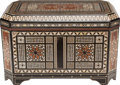 Decorative Arts, Continental, A MOORISH INLAID MOTHER-OF-PEARL-EBONY, BONE AND HARDWOOD TRUNK.23-1/4 x 39-1/2 x 22-1/2 inches (59.1 x 100.3 x 57.2 cm). ...