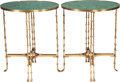 Furniture , A PAIR OF NEOCLASSICAL GILT BRONZE AND MALACHITE SIDE TABLES, 20th century. 28-1/2 inches high x 23-1/2 inches diameter (72.... (Total: 2 Items)