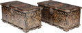 Asian:Chinese, A PAIR OF CHINESE POLYCHROME LACQUERED WOOD TRUNKS WITH BRASSMOUNTS, late 19th century. 20-1/4 x 42 x 20 inches (51.4 x 106...(Total: 2 Items)
