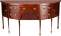 Furniture , A GEORGE III MAHOGANY AND GILT BRONZE DEMILUNE SIDEBOARD WITH SATINWOOD STRINGING, late 18th century. 35-1/4 x 72 x 28 inche...