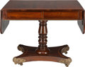 Furniture , A REGENCY MAHOGANY, FRUITWOOD AND BRONZE DROP-LEAF CONSOLE TABLE, circa 1820. 28-3/4 x 36-1/2 x 25-3/8 inches (73.0 x 92.7 x...