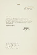 Autographs:U.S. Presidents, President Dwight D. Eisenhower Typed Letter Signed...