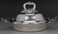 Silver Holloware, British, AN ENGLISH SILVER-PLATED COVERED SERVING DISH, circa 1880. 6-1/2 x13 x 11-5/8 inches (16.5 x 33.0 x 29.5 cm). PROPERTY FR...