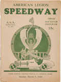 Miscellaneous Collectibles:General, 1930 American Legion Speedway Program...