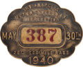 Miscellaneous Collectibles:General, 1940 Indianapolis 500 Pit Badge. ...