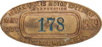 1939 Indianapolis 500 Pit Badge