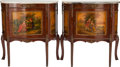 Furniture , A PAIR OF LOUIS XV-STYLE GILT BRONZE MOUNTED MAHOGANY VERNIS MARTIN SIDE CABINETS WITH MARBLE TOPS, 20th century. 30-1/2 x 2... (Total: 3 Items)