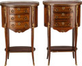 Furniture , A PAIR OF LOUIS XVI-STYLE GILT BRONZE MOUNTED MAHOGANY AND FRUITWOOD THREE-DRAWER GUERIDON WITH MARBLE TOPS. 29-5/8 x 18-1/4... (Total: 2 Items)