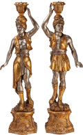 Decorative Arts, Continental, A PAIR OF VENETIAN CARVED GILT AND SILVERED WOOD BLACKAMOOR CANDELABRA, late 19th century. 61-1/2 inches high (156.2 cm). ... (Total: 2 Items)