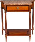 Furniture , A FRENCH INLAID EBONY, FRUITWOOD AND WALNUT CONSOLE TABLE WITH MARBLE TOP, mid 19th century. 33 x 32 x 19-7/8 inches (83.8 x... (Total: 3 Items)