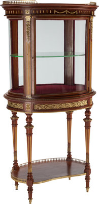 A FRENCH PARTIAL GILT MAHOGANY VITRINE CABINET WITH GILT BRONZE MOUNTS, early 20th century 54-1/2 x 28-1/2 x 20-1/