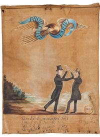 Henry Clay and James K. Polk: A Delightful and Highly Important Folk Art Banner from the 1844 Campaign